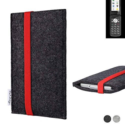 flat.design Handy Tasche Coimbra für Emporia TOUCHsmart passgenau Filz Schutz Hülle Case anthrazit rot fair