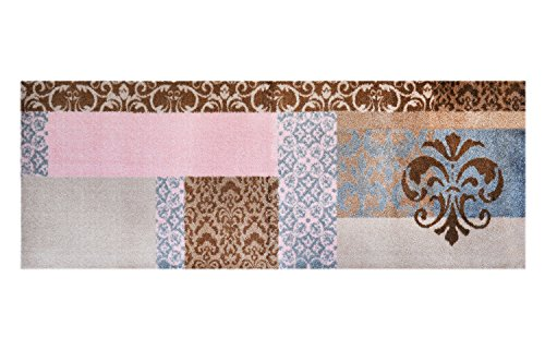 LifeStyle-Mat 101090 Barok, rutschfester und waschbarer Läufer, ideal für die Garderobe, Küche oder Schlafzimmer, 67 x 170 cm, braun / rosa