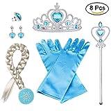 Vicloon ELSA Frozen Set, Krone Zauberstab Blau Handschuhe Tiara Braids Halskette Ring Ohrringe Set von 6