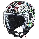 Helm Moto Jet Kinder Shiro Jet Comic Kids–Weiß weiß YL