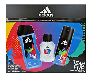 Coffret Homme Adidas TEAM FIVE - After Shave, Gel Douche, Déodorant Body Spray