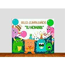 Photocall Cumpleaños Infantil 1,40x1,40m | Celebra el Cumpleaños con este Photocall Personalizado | Incluye 2 Peanas para un Apoyo Excelente | Material Resistente | 1cm de Grosor