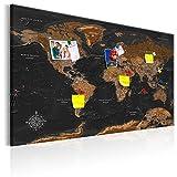 murando 120x80cm Mappa del Mondo per Il Fissaggio puntine & Quadro su Tela Pannello di Fibre Quadro Decorativo su Tela Lavagna per Le Note continente Viaggio Geografia k-A-0206-v-a