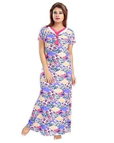 Be You Fashion Serena Satin Purple Floral Printed Nightgown for Women