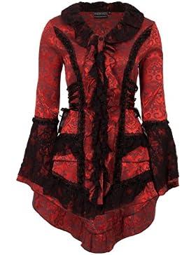 Victorian satén de brocado de damasco gótica Steampunk encaje Frock chaqueta