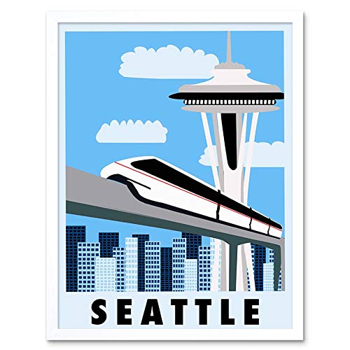 Wee Blue Coo LTD Travel Tourism Seattle Washington USA Monorail Space Needle Art Print Framed Poster Wall Decor Kunstdruck Poster Wand-Dekor-12X16 Zoll - Monorail, Space Needle