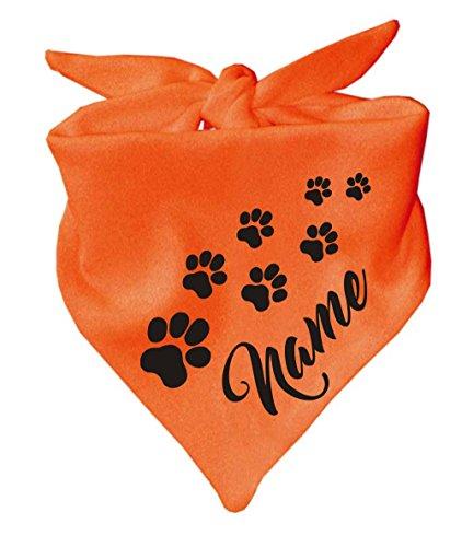 Hunde Dreiecks Halstuch (Fb: orange) Name des Hundes