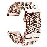 Bracelet de Montre en Acier Inoxydable de Remplacement 20mm en métal Or Rose Boucle ardillon milanese Montre Bracelet Bracelet Hommes Femmes