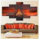 chaoaihekele Wohnkultur Leinwand Malerei Bilder 5 Panel Schweiz Zermatt Matterhorn Landschaft Wandkunst Drucke Modulare Poster 40x60 40x80 cm 40x100 cm (kein Rahmen)