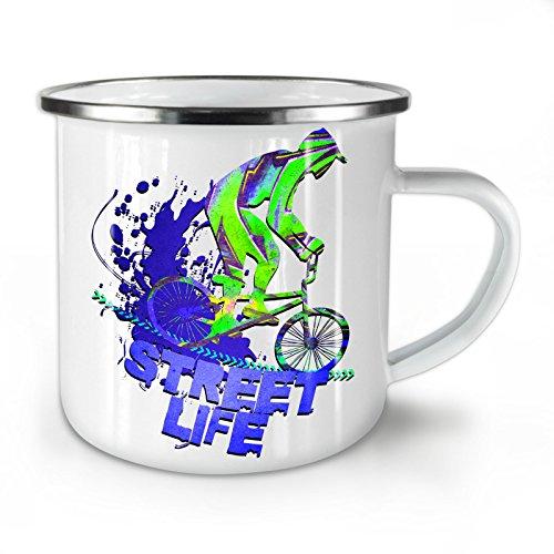 wellcoda strada vita bicicletta sport tazza smaltata, urbano tazza - maniglia forte, easy-grip, stampa a due lati, ideale per campeggio e all'aperto by