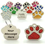 Personalised Engraved Red 27mm Glitter Paw Print Shaped Tag BOLD BLACK LETTERING Dog Cat Pet ID
