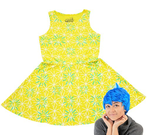 Disney Inside Out Joy Skater Dress and Perücke Kostüm Set - Perücken Usa Halloween