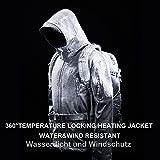 DEWBU Softshelljacke Beheizbare Jacke Softshell Winterjacke Heiz-Jacke mit Akku 7.4V und Ladegerät zum Outdoor Arbeiten Motorrad Schilaufen und Tägliches Tragen DB-12 2.0, Schwarz, XL - 5