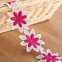 15Patio algodón flores tela bordada Applique costura Craft borde de encaje. Lazo 2,8cm