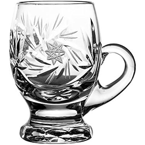Crystal Julia 3957 de copas de licor de vasos de cristal de plomo, tirachinas de diseño de estrellas de mano, 6 pcs con embalaje
