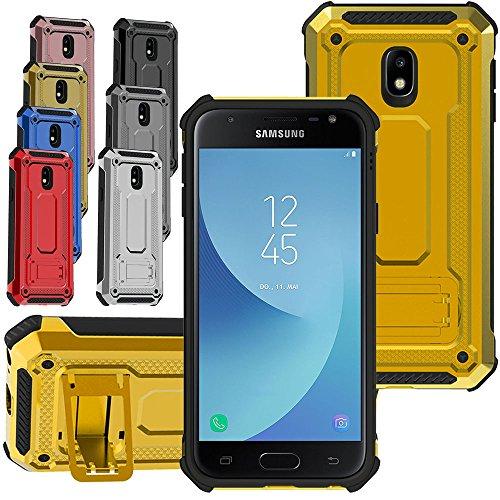 Samsung Galaxy J5(2017) Hülle Rüstung Cover [KUAWEI] Dual Layer Hybrid Rüstung Series Handyhülle Drop Resistance Handys Schutz Hülle mit Ständer Funktion und Auto Halterung Funktion für Samsung Galaxy J5 2017 - Dual-mikrofon-ständer