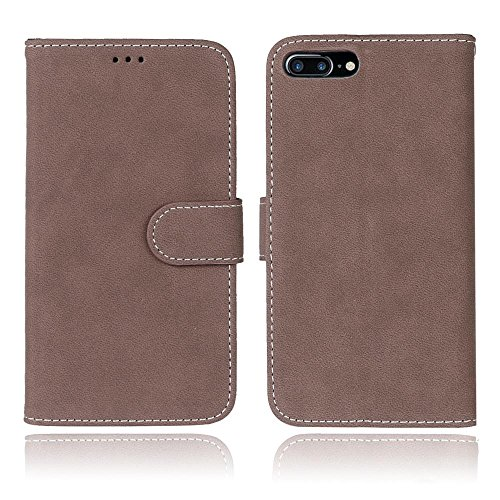 iPhone Case Cover Solid Color Premium PU Housse en cuir Housse Frosted Rétro Flip Case Stand Case avec des fentes pour cartes Cadres photo pour Apple IPhone 7 IPhone7 Plus 7+ ( Color : 5 , Size : Appl 3