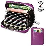 Porte Cartes de Crédit Cuir RFID pour Les Femmes Homme avec 13 Fentes pour Cartes et 2 Compartiments pour Pièce d'argent Porte-Cartes de Visite Porte-Case Porte Monnaie (Violet)