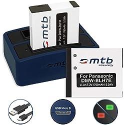 2 Batteries + Double Chargeur (USB) pour Panasonic DMW-BLH7(E)   Lumix DMC-GF7   DMC-GM1, GM5   DMC-LX15   DC-GX800 - Cable Micro USB inclus