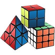 Cubo de la Velocidad Paquete,Roxenda Cubo Mágico Puzzle Pack - 2x2x2 3x3x3 Pyramid Cube, Super-durable con Colores Vivos, Fácil de Tornear y Liso Jugar