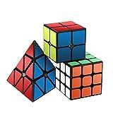 Ensemble Speed Cube,Roxenda Pyramid 2x2x2 3x3x3 Vitesse Cube de Magique; Autocollant Spin Lisse Super Durable avec des Couleurs Vives...