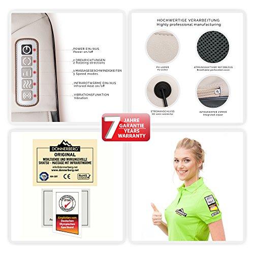 Donnerberg® Original appareil de massage shiatsu - Marque déposée allemande - Garantie 7 ans - Chaleur à infrarouge et vibration - Certificat TÜV - Pour domicile, voiture, bureau image 1