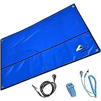Minadax® SET Para Protección Contra ESD   Alfombra Antiestática, Lazo De Muñeca y Cable De Puesta a Tierra (Azul XXL 60x80 cm)