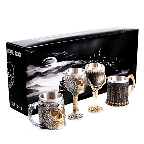 Skullbox Luxus Geschenkpackung 2 Becher + 2 Kelche - Ganzjähriges Unorthodoxes Geschenk für Sie und Ihn - Großartig für Paare, Verheiratete Paare, Eltern, Freunde - Totenkopf Becher und Kelche
