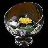 Runde Glas-Schale Nantes Höhe 19cm ø 19cm. Abgeschrägte Dekoschale mit Dekorations Set Seerose gelb Dekoglas Glasgefäß ausgefallene Deko für Ihre Deko Ideen. Glasdeko von Glaskönig