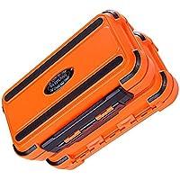 Sukisuki - Caja de almacenamiento para señuelos de pesca, portátil, impermeable, 24 compartimentos, doble capa, naranja, talla única