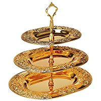 MF Goldplated 3 Tier Tray - KF39117JL,Gold