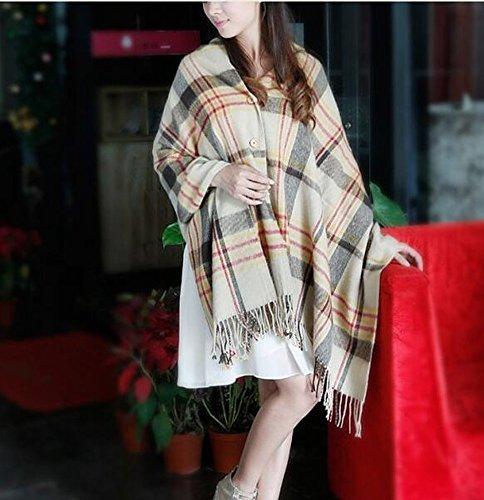 HOMEE Winterimitat Kaschmir Plaid Schal mit Knöpfen Schal Dual - Gebrauch Plus Heißes und Kaltes Computerhemd,Kamel (Tuch Knoten-knopf)