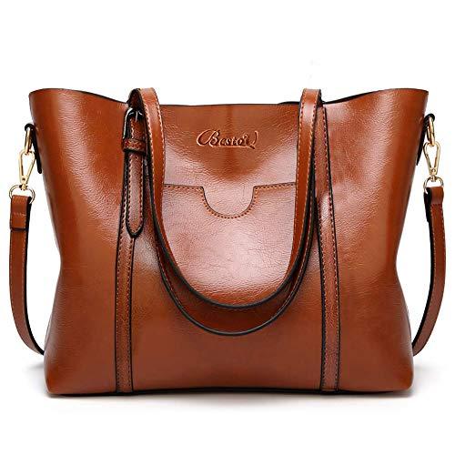 BestoU Damen Handtasche Leder Tasche Shopper Damen Handtaschen Groß Schule Schultertasche Frauen Umhängetasche (Braun) -
