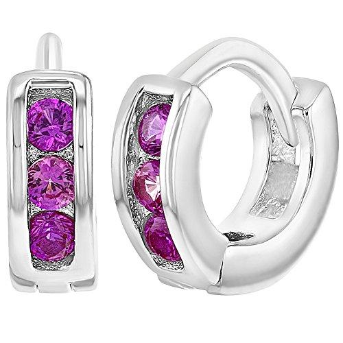 Silber Baby-mädchen (In Season Jewelry Säugling Baby Mädchen - Reifen Ohrringe Kleine Fuchsia 925 Sterling Silber CZ Zirkonia 7mm)