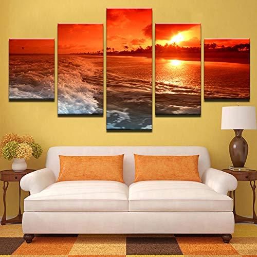 Rahmen Leinwand Bilder Home Decor 5 Stücke Sunset Glow Polarisierte Gläser Red Sky Beach Gemälde Sea Waves Seascape Poster Wandkunst
