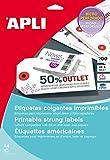 APLI 10234 - Etiquetas colgantes imprimibles (36 x 53) 10 hojas