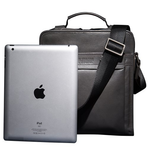Oneworld Herren Rindleder Messenger Bag Aktentasche Schultertasche Notebooktasche Handtasche Umhängetasche Schultasche Mini Bag 24x28x8cm(BxHxT) Grau Grau