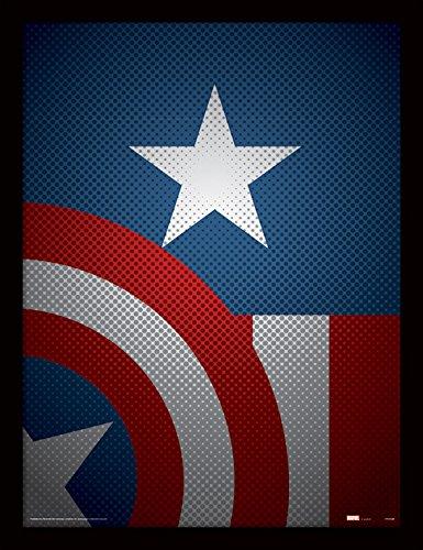Pyramid International FP11194P-PL Avengers Assemble (Captain America Torso) gerahmter Druck, 250 gsm Paperwrap MDF, mehrfarbig, 44 x 33 x 4 cm Das Punisher-logo-poster