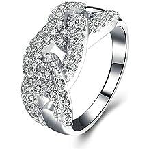 Bishilin Ring Sterling Silber Damen Hohl Rund Brillant Weiß Zirkonia  Eherring Verlobungsring Silber b83a152753
