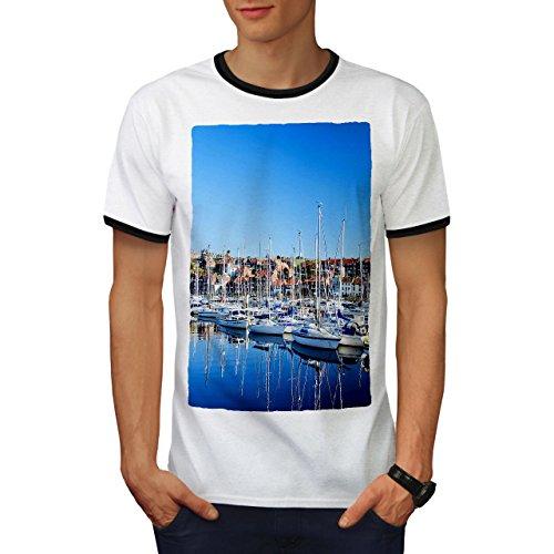 Boot Bucht Neuheit Natur Cool Yachten Herren L Ringer T-shirt | Wellcoda (Bucht Hawaii-shirt)