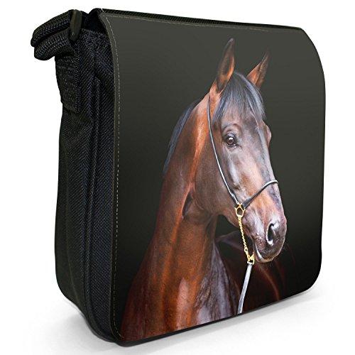 Elegante cavallo marrone piccolo nero Tela Borsa a tracolla, taglia S Purebred Bay Horse Ready Show