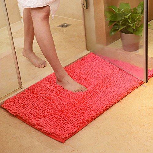 Rutschfeste Badematte Badteppich aus Mikrofaser Chenille Teppich für Badezimmer size 50x80 cm (Orange rot) (Rot-orange-bad-teppiche)