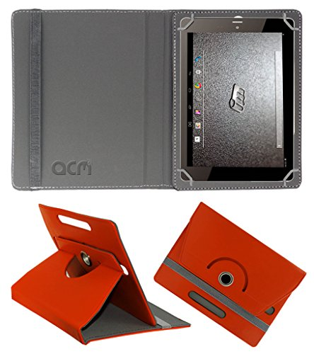 ACM Rotating 360° Leather Flip Case for Micromax Canvas Tab P666 Cover Stand Orange