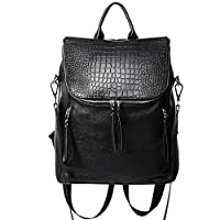 Back to School Genuine Leather Women Backpack Purse Fashion Large Designer Travel Ladies Shoulder Bag with Crocodile Flap