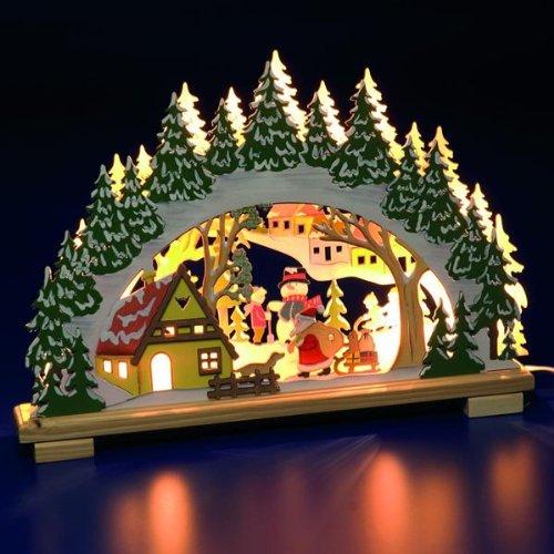 Bonhomme de neige et Père Noël en bois lumineux Candlebridge