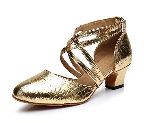 Honeystore Neuheiten Frauen's PU Leder Heels Absatzschuhe Moderne Latein-Schuhe mit Knöchelriemen Tanzschuhe LD0175 Gold 41 CN