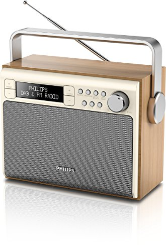 Philips AE5020 Portable Radio with DAB+ (Digital UKW, Battery and Mains Operation, Program Counter, 3 Watt) - brown/silver