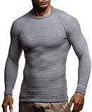 LEIF NELSON Herren-Strickpullover Woll-Pullover mit Rundkragen | Moderner Pullover Sweatshirt | LN20746; M; Grau