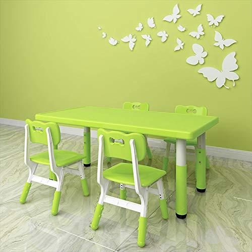 GYiYi Kinderspieltisch, Höhenverstellbare Tisch Und Stühle Und 4 Stühle, Rechteckige Kunststoff-Spielzeug-Tabelle, Malerei, 4 Farben Zur Auswahl