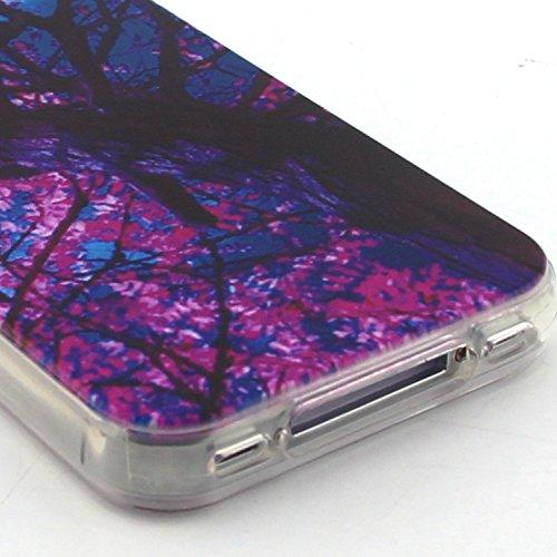 Voguecase® Per Apple iPhone 5 5G 5S, Custodia Silicone Morbido Flessibile TPU Custodia Case Cover Protettivo Skin Caso (Gatto / ECG) Con Stilo Penna albero rosso 02